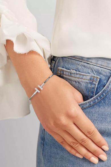 tiffany co t wire 18 karat white gold diamond bracelet. Black Bedroom Furniture Sets. Home Design Ideas