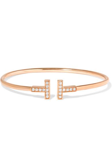 Tiffany & Co T Wire 18 karat rose gold diamond bracelet