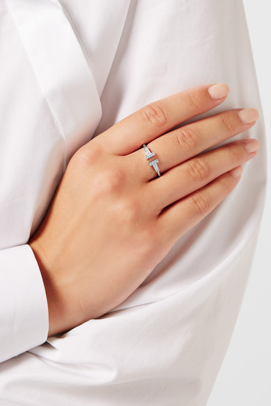 tiffany co t wire 18 karat white gold diamond ring net a porter com. Black Bedroom Furniture Sets. Home Design Ideas