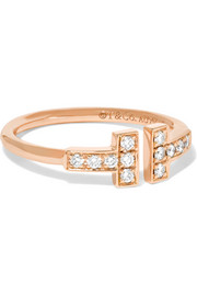T Wire 18-karat rose gold diamond ring