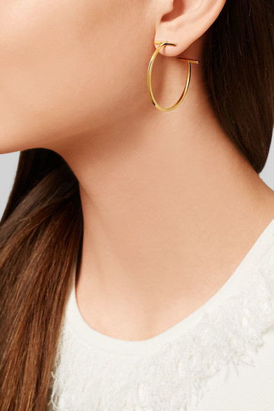 T Wire 18 Karat Gold Hoop Earrings