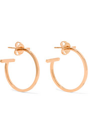 T Wire 18-karat rose gold hoop earrings