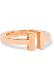 T Square 18-karat rose gold ring