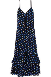 Boutique Moschino Ruffled polka-dot cotton and silk-blend voile maxi dress