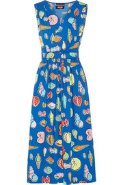 Wrap-effect printed cotton-blend poplin midi dress