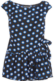 Boutique Moschino Ruffled polka-dot cotton-voile top