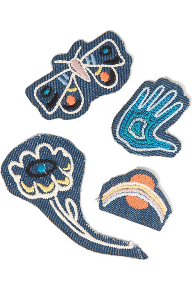 mih jeans female mih jeans acid trip set of four embroidered cotton patches white