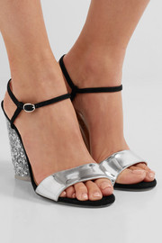 + Edie Parker metallic leather and suede sandals