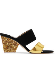 Paul Andrew + Edie Parker metallic leather and suede sandals