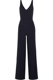 Cutout textured stretch-crepe jumpsuit
