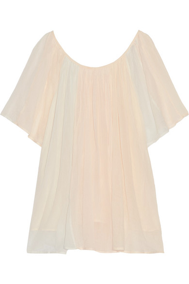 Mes Demoiselles - Rosace Gathered Cotton-gauze Blouse - Pastel pink