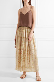 Polka printed silk maxi skirt