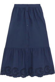 Clem broderie anglaise-trimmed ruffled cotton-poplin midi skirt