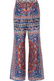 Printed cotton-blend voile flared pants