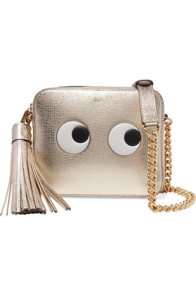 anya hindmarch female anya hindmarch eyes metallic embossed texturedleather shoulder bag gold