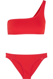 One-shoulder neoprene and mesh bikini