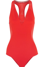 Cutout neoprene and mesh swimsuit