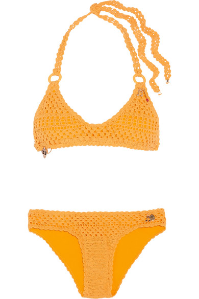 Stella McCartney - Embellished Crocheted Stretch Cotton-blend Bikini - Mustard