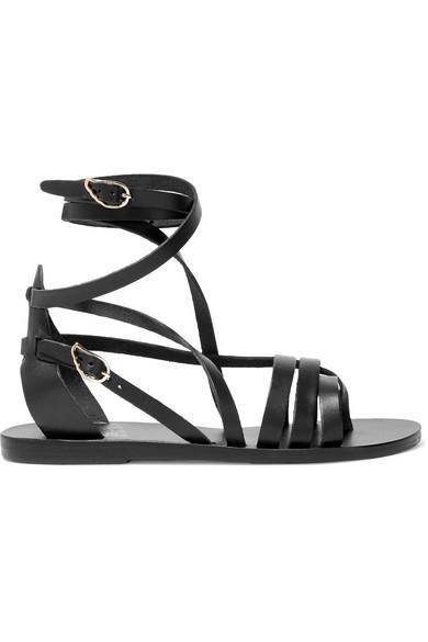 Ancient Greek Sandals - Satira Leather Sandals - Black