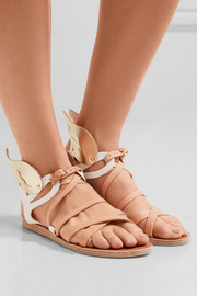 Ancient Greek Sandals Nephele metallic-trimmed leather wing sandals