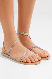 Ancient Greek Sandals Eleftheria raffia and leather sandals