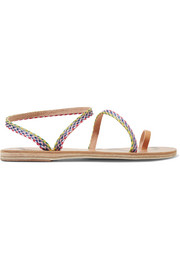 Eleftheria raffia and leather sandals
