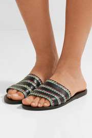 Ancient Greek Sandals Taygete raffia-trimmed leather slides