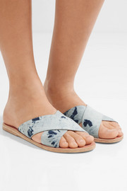 Ancient Greek Sandals Thais denim and leather slides