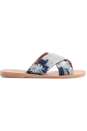 Thais denim and leather slides