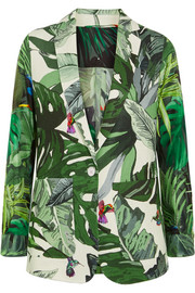 Printed linen and silk-twill blazer