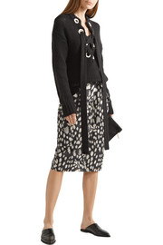 Leopard-print cotton-poplin skirt