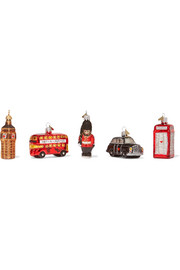 Little London set of five glass baubles