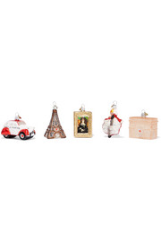Little Paris set of five glass baubles