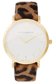 Larsson & Jennings Lugano leopard-print calf hair and gold-plated watch