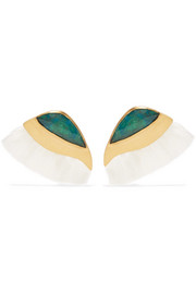 Peacock gold-plated, quartz and chrysocolla earrings
