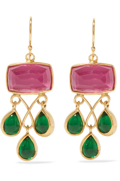 Katerina Makriyianni - Gold-plated, Quartz And Crystal Earrings - Green