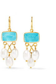 Katerina Makriyianni Gold-plated, pearl and quartz earrings
