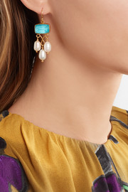Gold-plated, pearl and quartz earrings