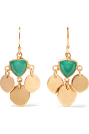Katerina Makriyianni Gold-plated, quartz and agate earrings