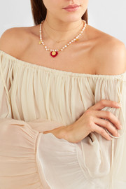 Gold-plated, pearl and wool necklace