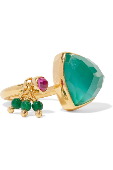 Katerina Makriyianni - Trillion Gold-plated Multi-stone Ring - 50