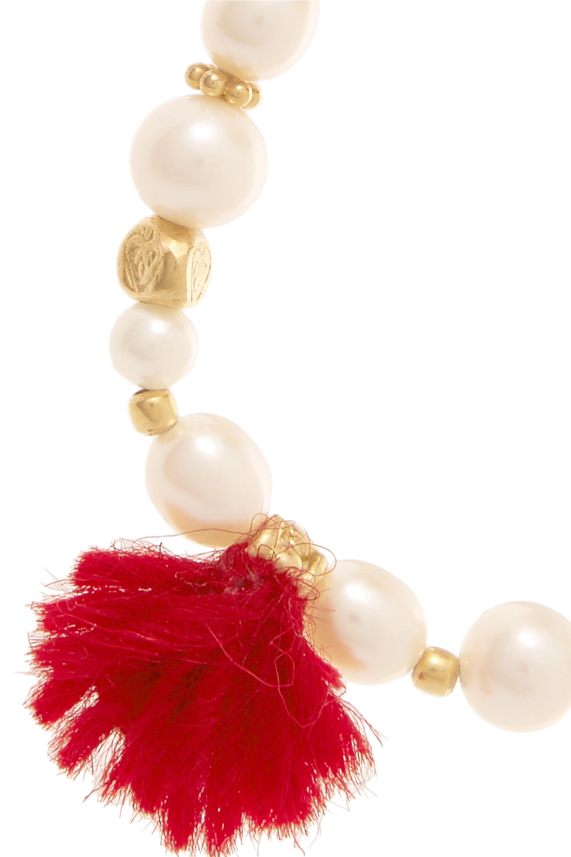 Katerina Makriyianni Gold-plated, pearl and wool bracelet