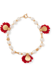 Gold-plated, pearl and wool bracelet