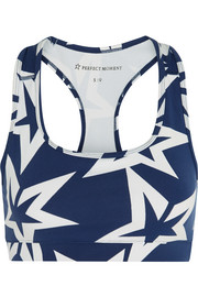 Starlight printed stretch-jersey sports bra