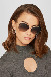Fine Wave square-frame gold-tone sunglasses