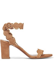 Cloud metallic leather-trimmed suede sandals