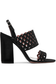 Ilma laser-cut suede slingback sandals
