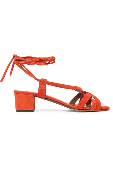 Tabitha Simmons - Belen Lace-up Suede Sandals - Tomato red