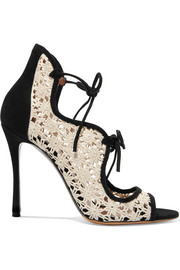 Tabitha Simmons Cali Daisy guipure lace and suede sandals