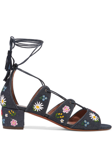 Tabitha Simmons - Isadora Embroidered Denim Sandals - Dark denim